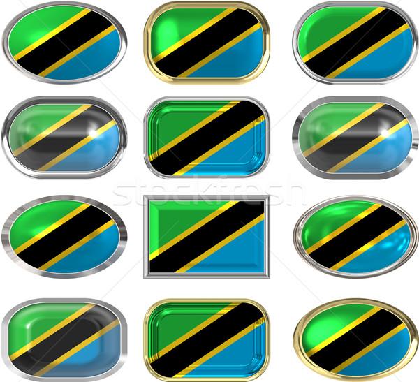 Oniki düğmeler bayrak Tanzanya Stok fotoğraf © clearviewstock