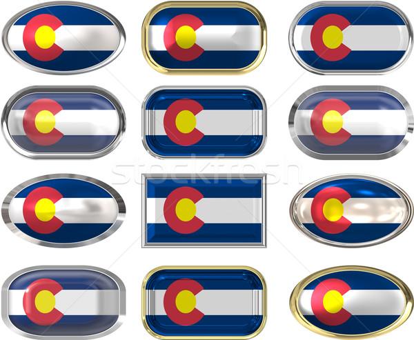 двенадцать Кнопки флаг Колорадо фон Сток-фото © clearviewstock