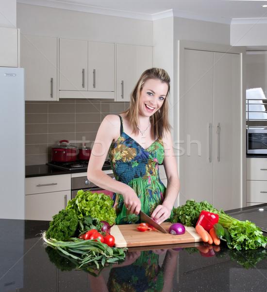 Mulher jovem saudável legumes bastante mulher Foto stock © clearviewstock