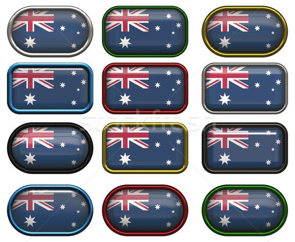 Dodici pulsanti bandiera Australia sfondo Foto d'archivio © clearviewstock