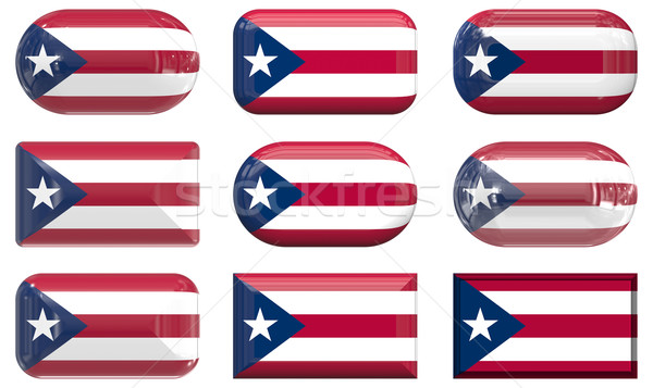 Negen glas knoppen vlag Puerto Rico Stockfoto © clearviewstock