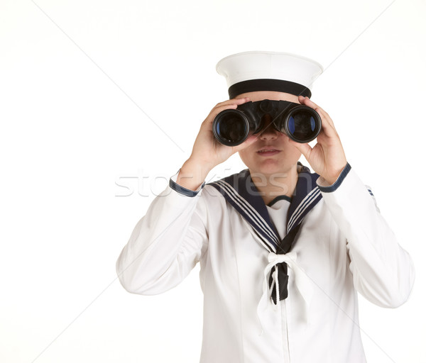 Stock photo: young sailor with binoculars isolated white background