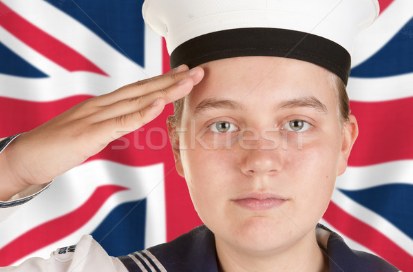 young sailor saluting in front of union jack Stock photo © clearviewstock
