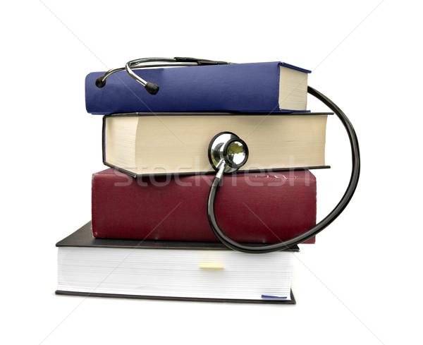 Stock photo: books and stethoscope