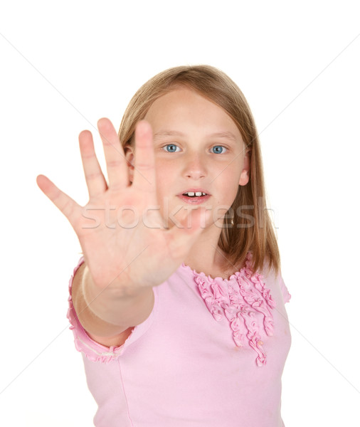 get back young girl on white Stock photo © clearviewstock