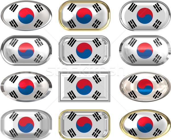 12 düğmeler bayrak Güney Kore oniki muhteşem Stok fotoğraf © clearviewstock