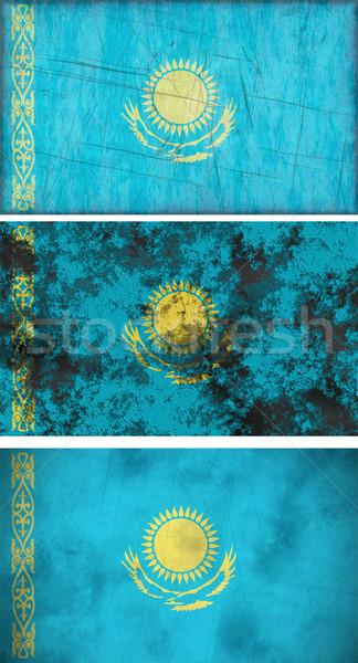 Zászló Kazahsztán nagyszerű kép háttér koszos Stock fotó © clearviewstock