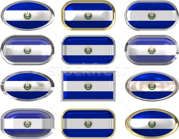 Doze botões bandeira El Salvador Foto stock © clearviewstock