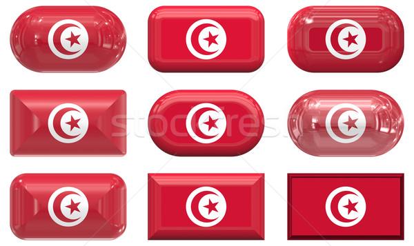 9 ガラス ボタン フラグ チュニジア ストックフォト © clearviewstock