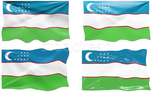 Zászló Üzbegisztán nagyszerű kép Stock fotó © clearviewstock