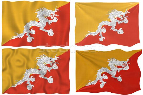 Foto stock: Bandeira · Butão · imagem · branco · quatro