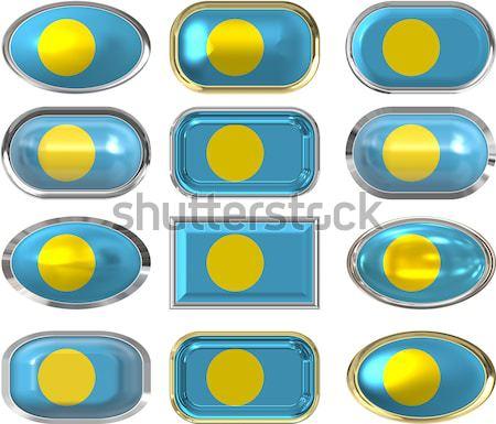 9 ガラス ボタン フラグ パラオ ストックフォト © clearviewstock