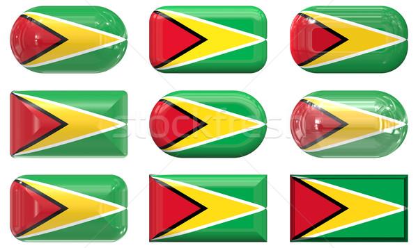 Negen glas knoppen vlag Guyana Stockfoto © clearviewstock