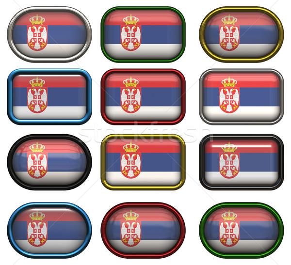 двенадцать Кнопки флаг Сербия Сток-фото © clearviewstock