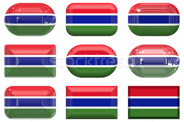 Negen glas knoppen vlag Gambia Stockfoto © clearviewstock