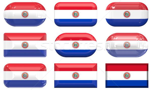 Kilenc üveg gombok zászló Paraguay Stock fotó © clearviewstock