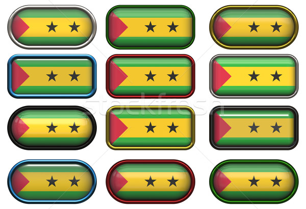 twelve buttons of the Flag of Sao Tome and Principe Stock photo © clearviewstock