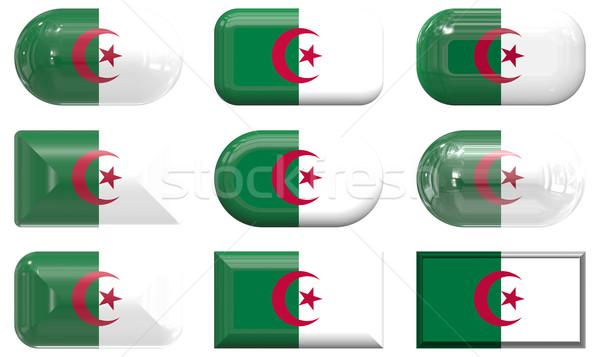 Neuf verre boutons pavillon Algérie Photo stock © clearviewstock