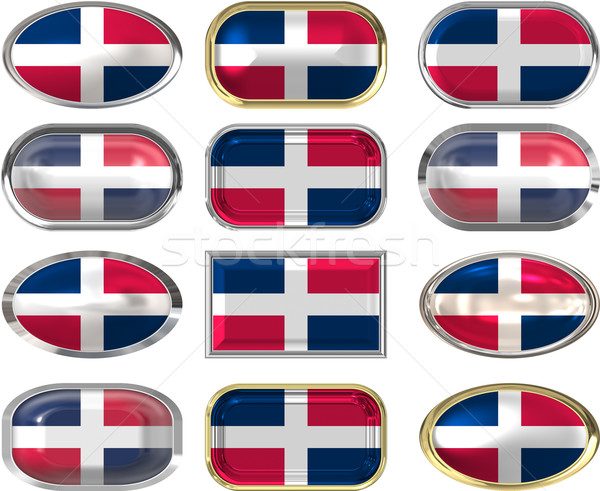 twelve buttons of the Flag of dominican republic Stock photo © clearviewstock