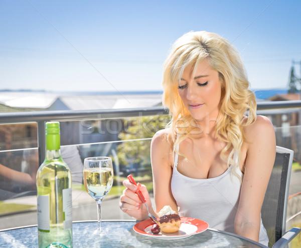 Vinho sobremesa café mulher jovem mulher Foto stock © clearviewstock