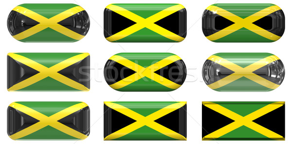 nine glass buttons of the Flag of Jamaica Stock photo © clearviewstock