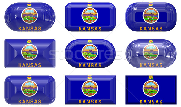 nine glass buttons of the Flag of Kansas Stock photo © clearviewstock