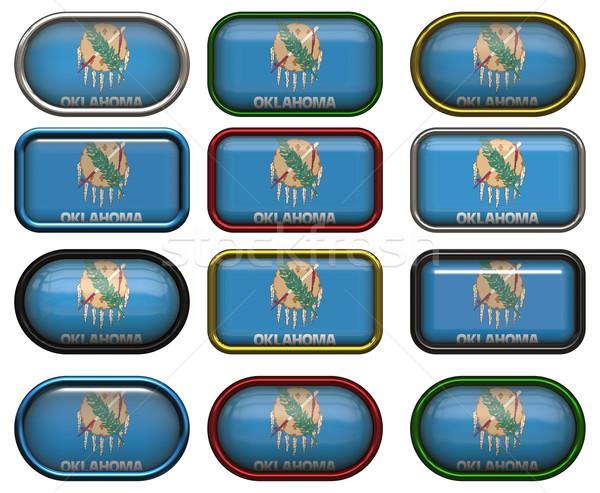 12 knoppen vlag Oklahoma twaalf groot Stockfoto © clearviewstock