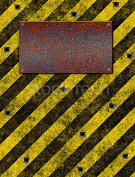Felirat fogkő öreg koszos citromsárga figyelmeztető jel Stock fotó © clearviewstock