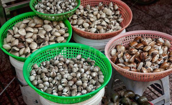 Verkoop schelpdier stad vers zeevruchten schelpen Stockfoto © clearviewstock