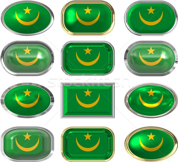 Doze botões bandeira fundo botão Foto stock © clearviewstock
