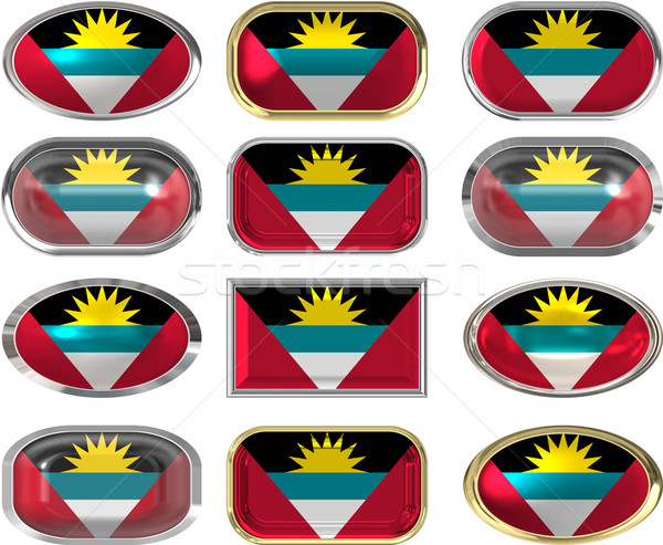 twelve buttons of the Flag of antigua barbuda Stock photo © clearviewstock