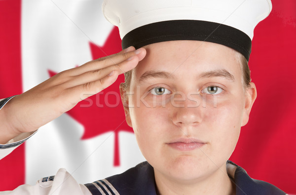 Stock photo: young sailor saluting isolated white background