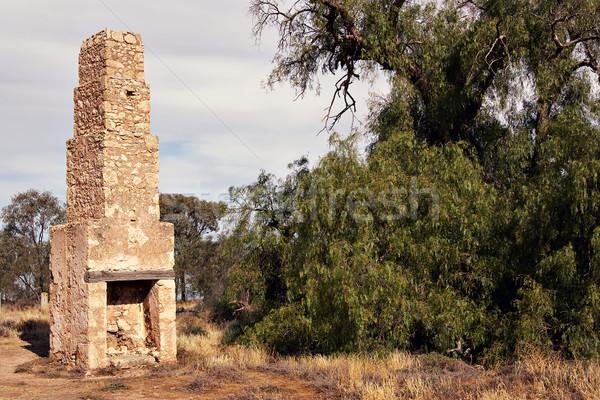 Komin starych ruiny ziarnko pieprzu drzewo cegły Zdjęcia stock © clearviewstock