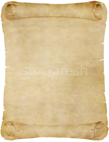 Stock photo: old parchment paper scroll on white