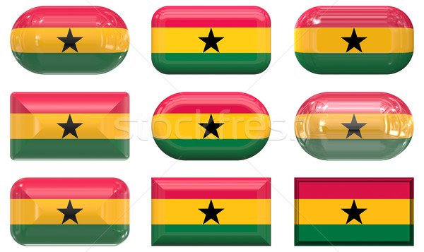 nine glass buttons of the Flag of Ghana Stock photo © clearviewstock