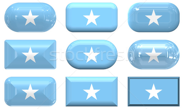 Dziewięć szkła przyciski banderą Somali Zdjęcia stock © clearviewstock