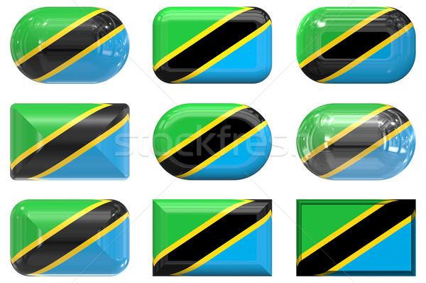 Dokuz cam düğmeler bayrak Tanzanya Stok fotoğraf © clearviewstock