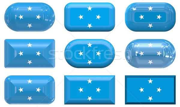 9 ガラス ボタン フラグ ミクロネシア ストックフォト © clearviewstock