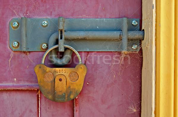 Zablokowany drzwi duży starych blokady jasne Zdjęcia stock © clearviewstock