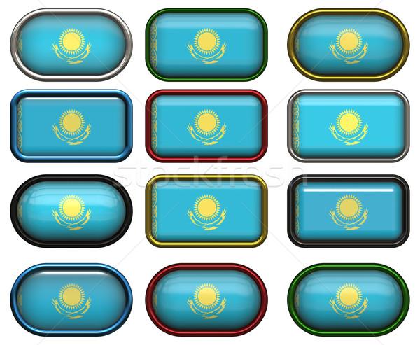 12 Кнопки флаг Казахстан двенадцать Сток-фото © clearviewstock