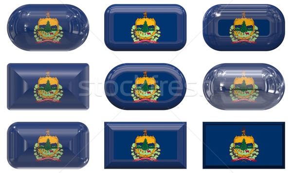 Nueve vidrio botones bandera Vermont Foto stock © clearviewstock