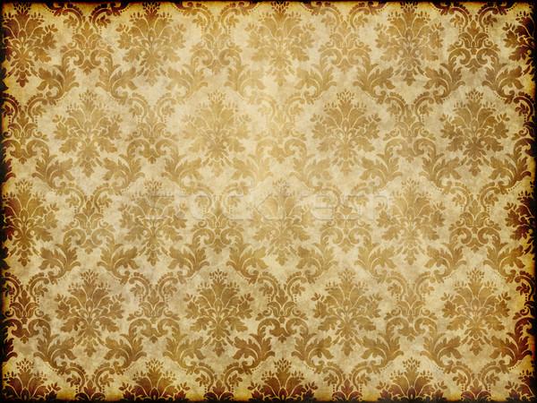 ヴィンテージ ダマスク織 壁紙 古い ブラウン 黄色 ストックフォト © clearviewstock
