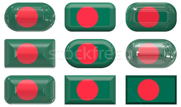 Dokuz cam düğmeler bayrak Bangladeş Stok fotoğraf © clearviewstock