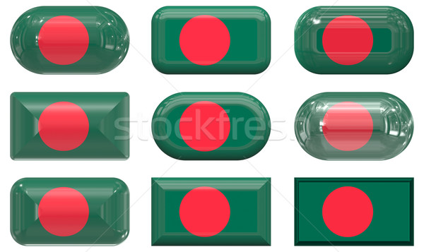 Nove vidro botões bandeira Bangladesh Foto stock © clearviewstock
