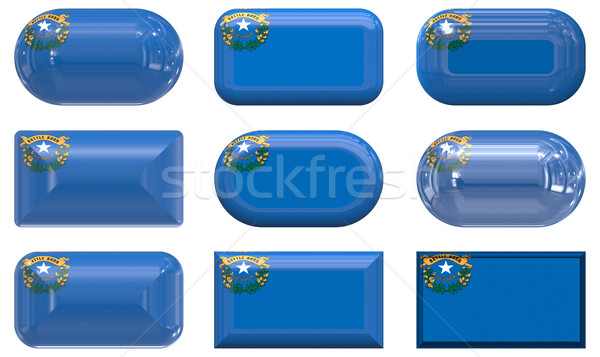 Nove vidro botões bandeira Nevada Foto stock © clearviewstock