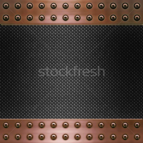 Stockfoto: Koolstof · vezel · koper · afbeelding · metaal · frame