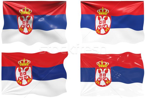 Bayrak Sırbistan muhteşem görüntü Stok fotoğraf © clearviewstock