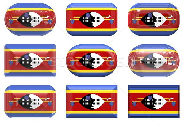 Negen glas knoppen vlag Swaziland Stockfoto © clearviewstock