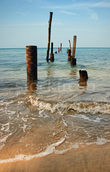 old jetty pillars in sea Stock photo © clearviewstock