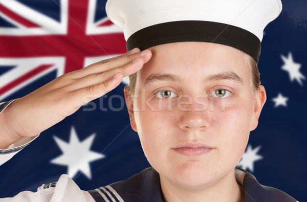 young sailor saluting isolated white background Stock photo © clearviewstock